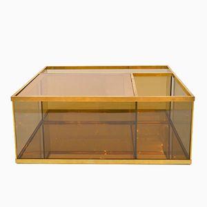 Tavolino da caffè vintage in vetro fumé