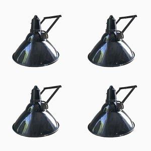 Industrielle Vintage Emaille Lampen, 4er Set