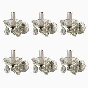 Applique vintage in cristallo, set di 6