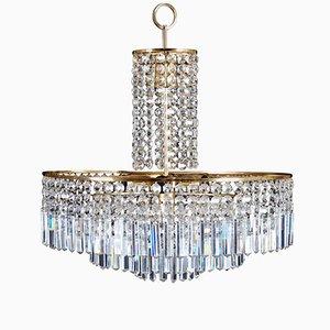 Lampadario vintage in cristallo intagliato di Bakalowits & Söhne