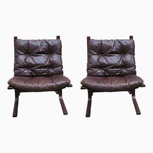 Chaises Siesta en Cuir par Ingmar Relling pour Westnova, 1960s, Set de 2