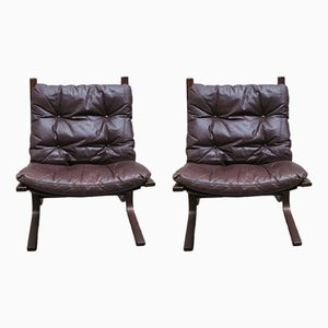 Siesta Leather Chairs by Ingmar Relling for Westnova, 1960s, Set of 2