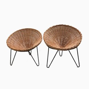 French Rattan Chairs, 1950s, Set of 2