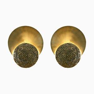 Appliques Gong en Fonte de Laiton et Laiton Satiné de Esperia, Italie, 2016, Set de 2