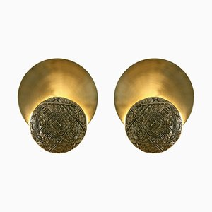 Italian Gong Appliques in Cast Brass & Satin Brass from Esperia, 2016, Set of 2