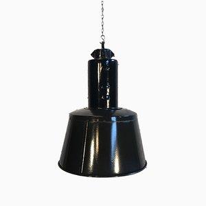 Mid-Century Fabrik Lampe aus schwarzer Emaille