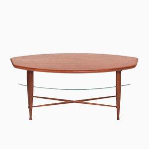 Tavolino da caffè in teak con portariviste in vetro, anni '60