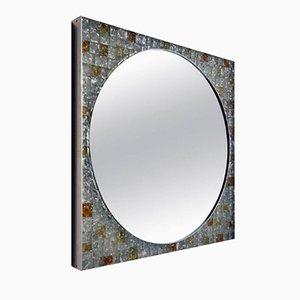 Espejo de pared italiano de vidrio retroiluminado de Poliarte, años 70