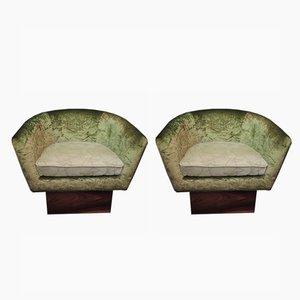 Butacas italianas Art Déco de terciopelo verde, años 40. Juego de 2