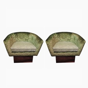 Italian Art Deco Green Velvet Armchairs, 1940s, Set of 2