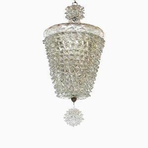 Lámpara de techo Rostrato Art Déco de cristal de Murano de Ercole Barovier, años 30