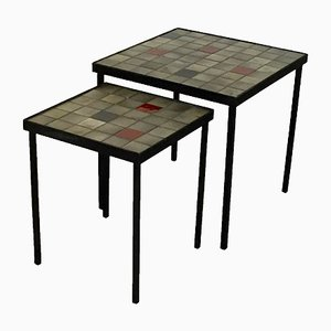 French Ceramic Nesting Tables by Mado Jolain, 1950s