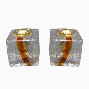 2-farbige würfelförmige Glas Tischlampen von Toni Zuccheri für VeArt, 1960er, 2er Set