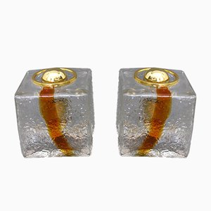 Lámparas de mesa cúbicas de vidrio de dos tonos de Toni Zuccheri para VeArt, años 60. Juego de 2