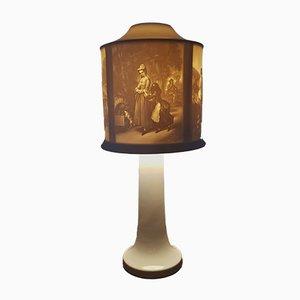 Lampada in porcellana Biscuit traslucida con litofania di Hutschenreuther, anni '70