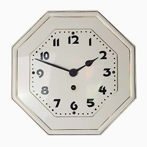 Octagonal Art Nouveau Porcelain Wall Clock with Gold Rim