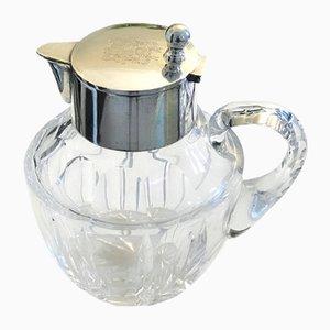 Antiker Silber & Kristallglas Krug mit Wappen