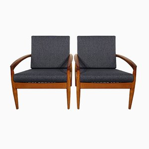 Paper Knife Armchairs by Kai Kristiansen for Magnus Olesen, 1960s, Set of 2