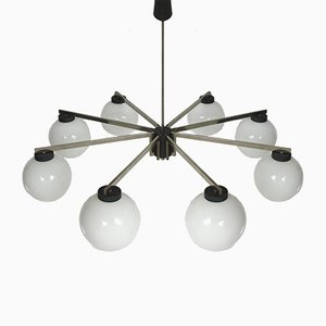 Nickel-Plated Brass and Steel Chandelier, 1970s