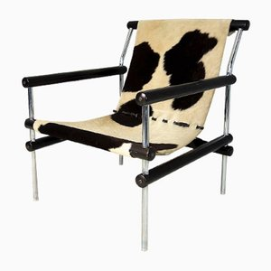 Constructivist Vintage Armchair in Chrome and Cowhide
