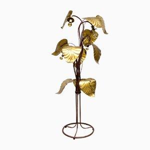 Lámpara de pie Mid-Century con hojas de ruibarbo de latón dorado