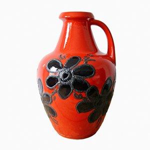 Vaso da terra rossa con fiori neri di Bay Keramik, anni '60