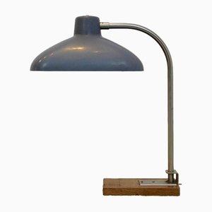 Lámpara de escritorio belga de acero, roble y baquelita, años 50