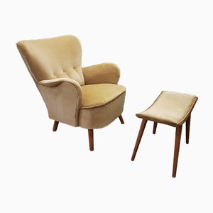 Velvet Club Chair with Ottoman by Theo Ruth for Artifort, 1950s
