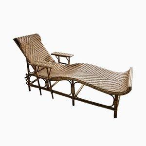 Verstellbare vintage Bambus & Rattan Chaise Lounge