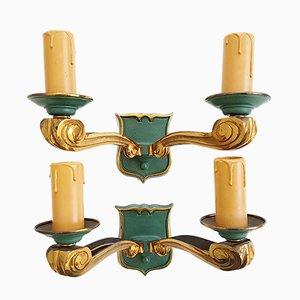 Französische Mid-Century gold & grün lackierte Bronze Wandlampen, 1950er, 2er Set