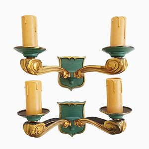 Mid-Century French Golden & Green-Lacquered Bronze Wall Lights, 1950s, Set of 2