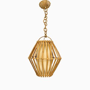 Vintage French Rattan Pendant Lamp