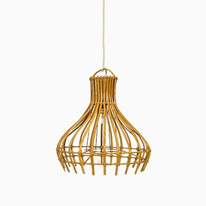 Rattan Pendant with Cage-Shaped Shade, 1960s