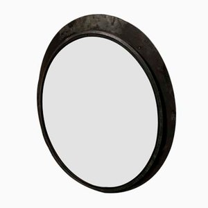 Large Vintage Convex Mirror with Pickled Frame