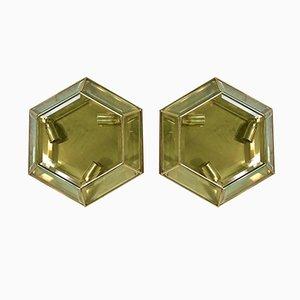 Asymmetrische Messing Wandlampen, 1970er, 2er Set