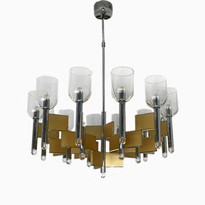 Italian Chandelier in Brass and Chrome by Sciolari, 1970s