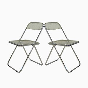 Plia Folding Chairs by Giancarlo Piretti for Castelli, 1970s, Set of 2