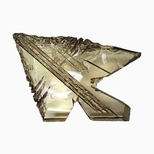 French Carved Crystal Sculpture by Michel Mourlot & Lyane Allibert, 1995