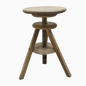 Vintage Industrial Wooden Swivel Stool