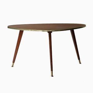 Tavolino da caffè Mid-Century con ripiano in pelle, anni '50