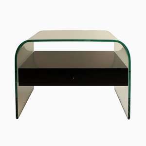 Curved Glass Nightstand from Fiam Italia, 1980s