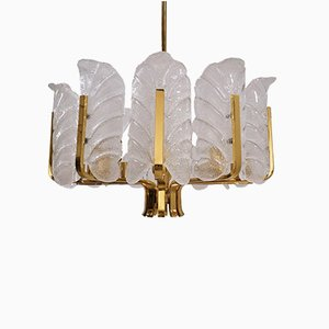 Glass & Brass Chandelier by Carl Fagerlund for Orrefors, 1960s