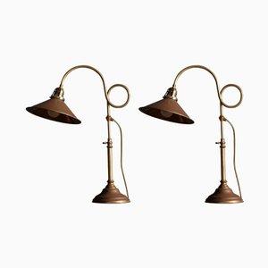 Lámparas de mesa suecas de latón de Gamla Stans Lampverkstad, años 60. Juego de 2