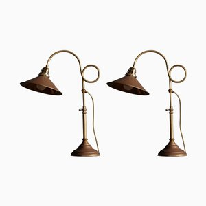 Lampes de Bureau en Laiton de Gramla Stans Lampverkstad, 1960s, Suède, Set de 2