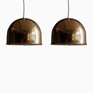 Lámparas de techo de latón de Bergboms, años 60. Juego de 2