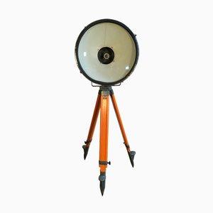 Projecteur d'Usine Vintage Gris avec Trépied en Bois