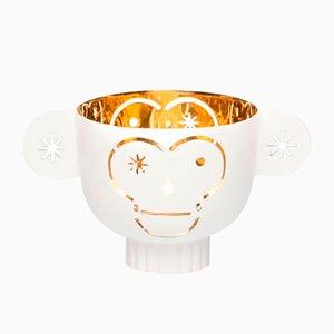 Messing Monkos Kerzenständer mit weißem Äußeren von Jaime Hayon für Paola C.