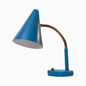 Danish Petrol Blue Table Lamp by E. S. Horn, 1950s