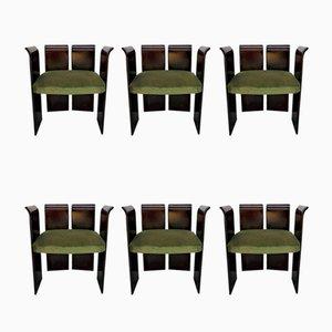 Gebogene Vintage Palisander Chairs, 6er Set