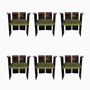 Vintage Curved Rosewood Chairs, Set of 6